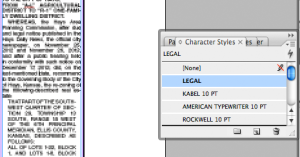 A character style sheet applies the text attributes to the selected text.