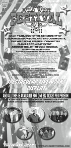 Full-page, black & white ad for upcoming Wild West Festival in Hays, Kan.