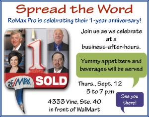 Ad for local ReMax office first anniversary celebration.